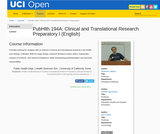 PubHlth 194A: Clinical and Translational Research Preparatory I (English)