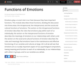 Functions of Emotions