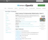 Adult Literacy Fundamentals Mathematics: Book 1